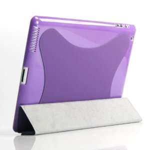 (Purple)PU leather case/Flip Stand Case with plastic case for iPad