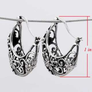 Hollow Moon Tibetan Silver Hoop Earrings W/ Flowers New