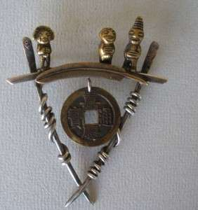 Susan Silver Brown Sterling pin brooch ethnic figures