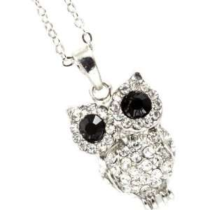 Gorgeous Clear Crystal Embellished Owl Pendant and Necklace   Silver