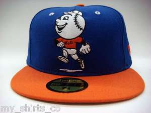 York Mets Blue Orange White Black Mr Met MLB Custom New Era Fitted Cap