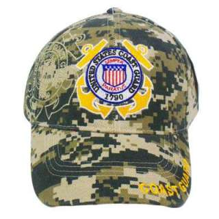 US COAST GUARD SEMPER PARATUS SEAL DIGITAL CAMO HAT CAP