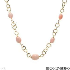 ENZO LIVERINO 18K Yellow Gold Coral Ladies Necklace. Length 19.5 in