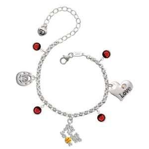 with Enamel Softball Love & Luck Charm Bracelet with Siam  Jewelry