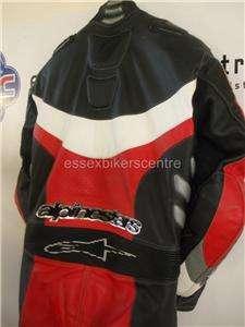 Alpinestars P1 One Piece Motorcycle Leathers UK 42 EU 52 VGC Red Black