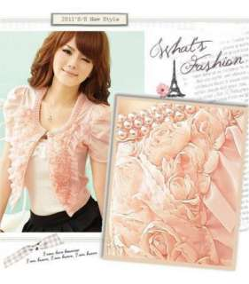 Women Short Sleeve Outerwear Jacket Cardigan Tops 5142
