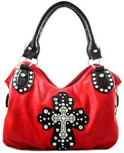 Rhinestone Cross Stud Accent Oversized Hobo Purse Handbag Red