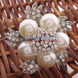 New Unique Style White Pearl Colored Bead Rhinestone Brooch Pin