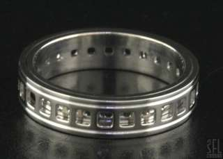 GUCCI 18K WHITE GOLD ITALY UNIQUE RETICULATED SPINNING MENS BAND RING