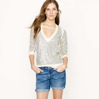 Sequin stripe V neck sweater   v necks & henleys   Womens sweaters