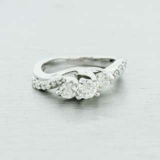 Breathtaking 14K White Gold Three Diamond Engagement Ring Bridal Fine