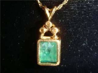 Natural Emerald Diamond 14 K Gold Pendant Necklace *WOW