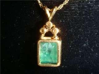 Natural Emerald Diamond 14 K Gold Pendant Necklace *WOW |