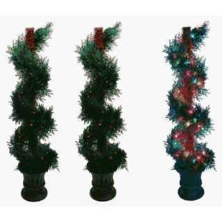 Pre lit Fern Spiral Tree Multi   colored Lights Set of Two Home
