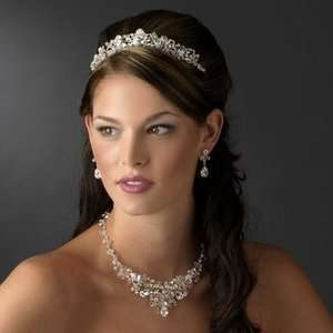 NWT Dazzling Silver Plated Rhinestone and Crystal Wedding Tiara and