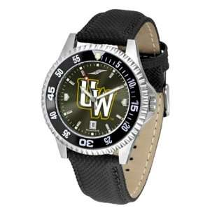 University of Wyoming Cowboys Mens Leather Wristwatch