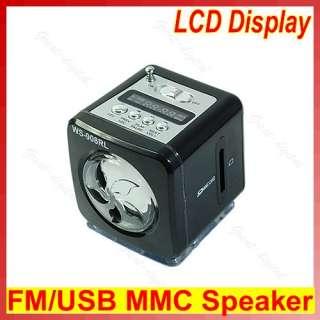 Mini USB LCD LED Light FM Radio Music Player Speaker SD/MMC Card F