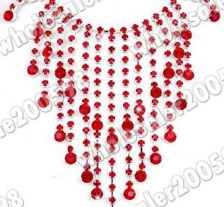 red rhinestone crystal fringe necklace earrring set w16028
