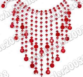 red rhinestone crystal fringe necklace earrring set w16028