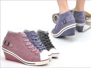 Canvas Wedge Heels Sneakers Shoes Pink/Purple/Black US 5.5 8