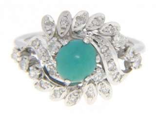 ANTIQUE 14K WHITE GOLD TURQUOISE DIAMOND COCKTAIL RING
