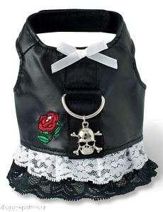 Leather Biker Dog HARNESS lace Dress w Skull & cross bone charm