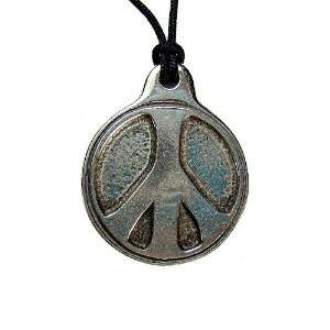 Peace Sign Pewter Pendant on Cord Necklace Jewelry