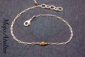 Pink Tourmaline Peridot Ruby Diamond Sterling Anklet
