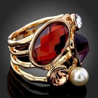 Arinna pearl ruby purple stones Gold GP fashion finger Ring swarovski
