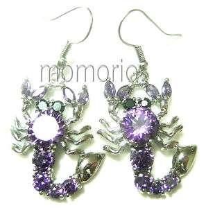 18KGP dangle Scorpion purple amethyst Crystals ear ring