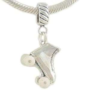 Sterling Silver ROLLER SKATE Charm for European Bead