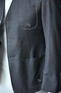 THOM BROWNE Mens Grey SAMPLE Blazer Jacket Sportcoat 36 TB 0 NEW Cuff