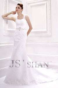 SALE Jsshan White Lace Embroidery Empire Bridal Gown Wedding Dress