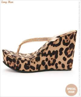 Leopard Style High Heel Wedge Slippers Flip Flops Gold, Silver