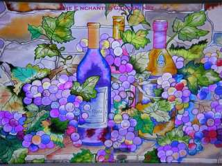 WINE CELLAR * 23x13 GRAPES VINEYARD SAINED GLASS PANEL |