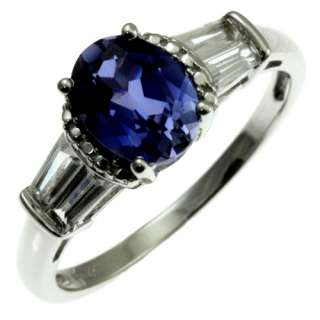 10kt white gold blue sapphire color and topaz ring