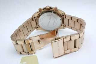 New Michael Kors Glitz Women Chronograph Steel Rose Gold Date Watch