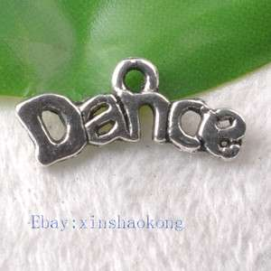 FREE SHIP 100pcs Tibetan Silver Fashion Dance Words Charm Pendents
