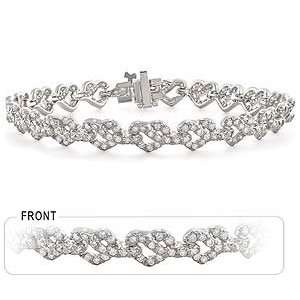 14k White Gold Diamond Heart Bracelet Jewelry