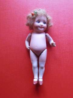 VERY CUTE GOOGLY Antique GERMAN Bisque Porcelain head doll Glass Eyes
