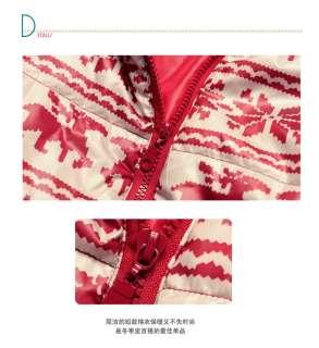 Japan Korea Top Women Lady Red Elk Printed Hooded Jacket Blazer