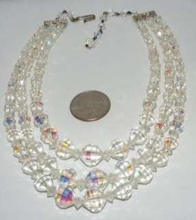 Vintage Laguna Triple Strand AB crystal Bead NECKLACE beaded costume