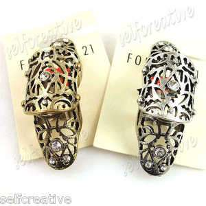 Filigree Floral Armor Hinged Knuckle Joint Ring Sz 6 Crystal Polish