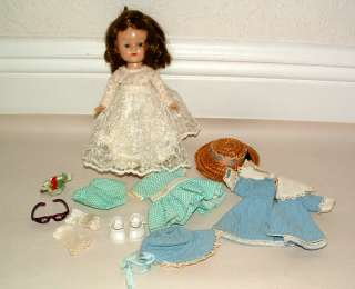 1950s VOGUE GINNY BRUNETTE WALKER DOLL AND OUTFITS