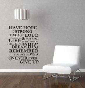 HAVE HOPE WALL ART STICKER QUOTE STENCIL KITCHEN