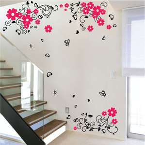 Large Butterfly Flower Mural Art Wall Stickers Vinyl Decal Home Room