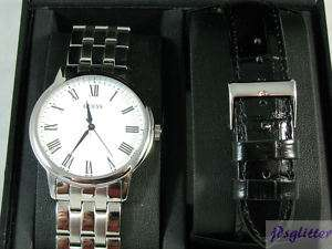 GUESS Mens Watch Silver/Blk Band Box Set #U10624G1 NIB