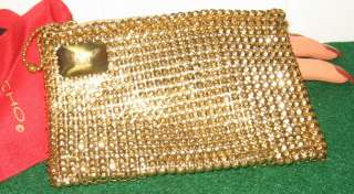 USA VINTAGE WHITING DAVIS GOLD METAL MESH CLUTCH EVENING ZIPPERED COIN