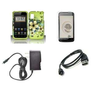 ZTE Warp (Boost Mobile) Premium Combo Pack   Green Hibiscus Flower and