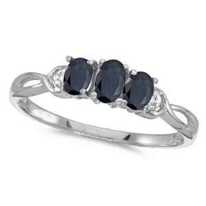 Oval Blue Sapphire and Diamond Three Stone Ring 14k White Gold (0.65ct